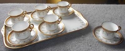 Cauldon set of 6 coffee cans or cups & saucers + matching tray, pattern no. 8501