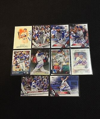 Lot of 10 Hand Signed Los Angeles Dodgers Cards - Kershaw, Seager, Wood