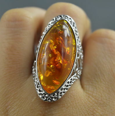 Collection Handwork Decor Miao Silver Carve Flower Inlay Petals Amber Lucky Ring