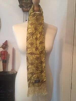 Smart/dapper Vtg 40S-60S Tootal Scarf Yellow, Red Paisley Mod, Goodwood
