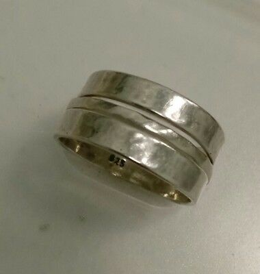 Set of 3 Stacking Sterling Silver SILPADA Hammered Wedding Bands Size 7 to 7.25