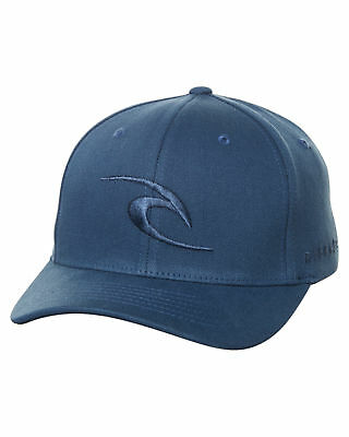 New Rip Curl Men's Tepan Curve Peak Flexfit Cap Cotton Fitted Blue