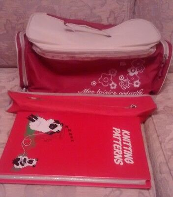 Knitting Crafting Bag with Knitting Needles Case and Patterns Folder
