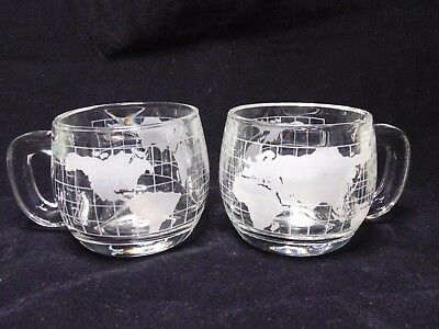 Nestle Etched World Map Glass Coffee Cup Mugs-Set Of 2