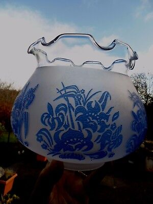 Retro Blue Etch Oil Lamp Shade