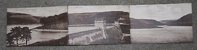 Open up 3 view vintage postcard Derwent Dam Reservoir & Waterworks