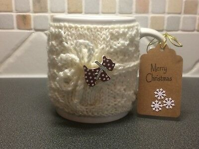 Hand Knitted Cream Sparkle Mug Cosy With Cute Brown Scottie Dog Button