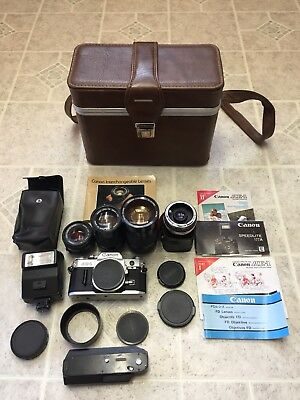 Canon AE-1 Camera Lot Lenses, Flash & Power Winder