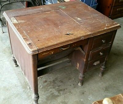 Antique Vintage Industrial Wood Typewriters Desk Table with Chair