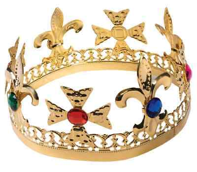 Gold Jeweled Crown King Queen Royalty Fancy Dress Halloween Costume Accessory
