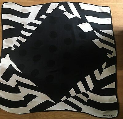 Vintage JAEGER Black & White Abstract Print Silk Scarf