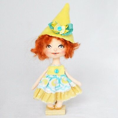 Textile artist miniature ginger doll in yellow clothes, 5in.