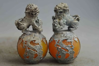 Collectable Handwork Agate Miao Silver Carve Dragon & Lion Exorcism Ball Statue