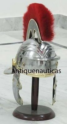 Medieval Roman Centurion Armour Helmet W/ Red Plume Re-enactment Role Play Repli