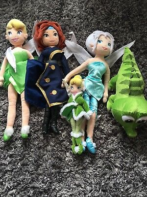 Disney Store Tinkerbell, Periwinkle, Croc And Zarina Plush Dolls