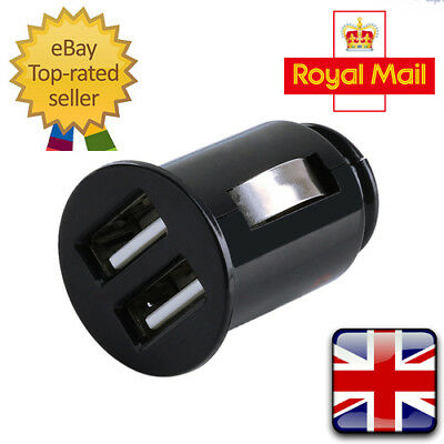 UK Stock Dual Twin USB Car Charger Cigarette Lighter Adapter for iPhone Samsung