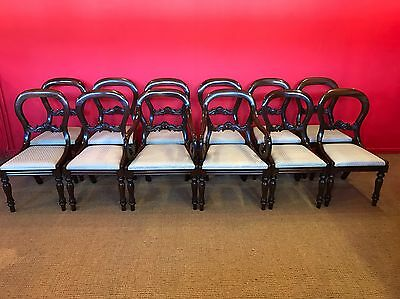 Sets Of 12 Victorian Style Balloon Back Chairs Pro French Polished.