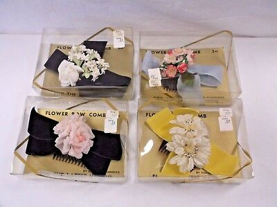 4 Vintage 60's NOS Hat Millinery Flower Bow Comb Latest Hairdo Vogue Accessories