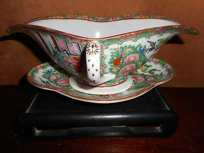 A Chinese Rose Medallion Export Porcelain Gravy Boat & Undertray