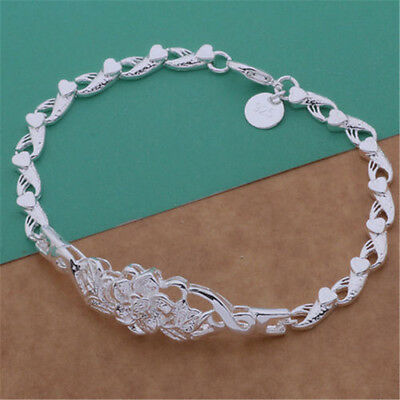 Fashion Jewelry Solid925 Silver Flower Bracelet / Bangle Holiday Gift new