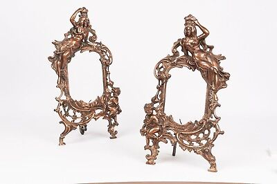 Old Victorian pair of cast iron bronzed photoframe