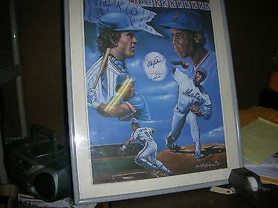 "Ny Mets Gary Carter, Dwight Gooden  Signed Lithograph ""dynamic Duo"""