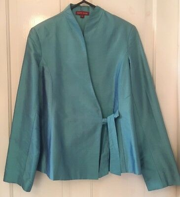 Bianco Levrin Teal Silk Wrap Tie Jacket Good Condition