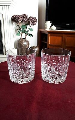 "Thomas Webb Crystal Pair Of Whisky Tumbkers 3.25"" - Excellent"