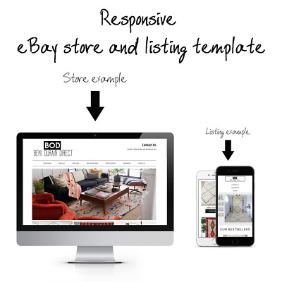 eBay Store and Auction Listing Template Design + Responsive eBay store