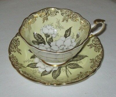 Paragon Cup and Saucer Yellow With White Roses