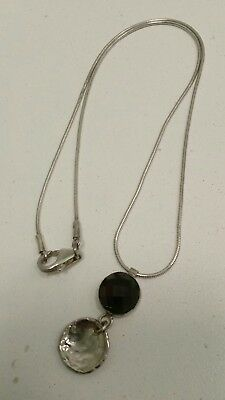 "Sterling Silver SILPADA Hammered Disc Pendant w/ Smoky Quartz Necklace 16"" Chain"