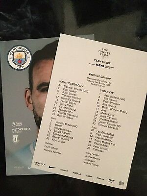 Man City v Stoke City Official Programme & Free team sheet 14.10.2017 **MINT**