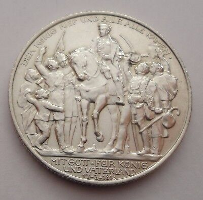 2 ZWEI MARK SILVER A 1913 WILHELM II COIN GERMANY 100th Anniversary of PRUSSIA