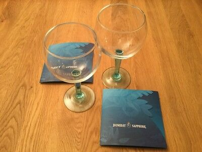 A Pair Of Bombay Sapphire Gin Crystal Balloon Glasses.