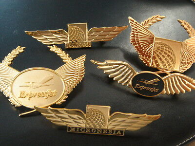 Continental Airlines (3) Wings and (2) hat Badges