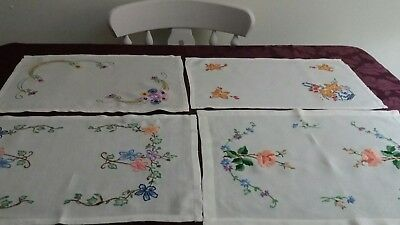4 Beautiful Vintage Hand Embroidered Tray Cloths.