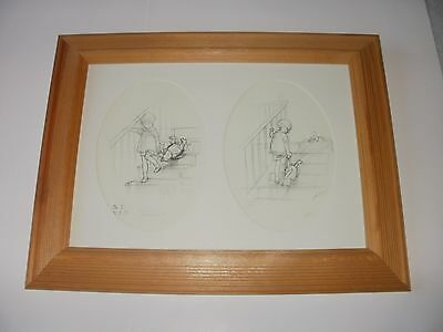 Winnie The Pooh Framed Picture Sketch Print With Christopher Robin, E.H. Shepard
