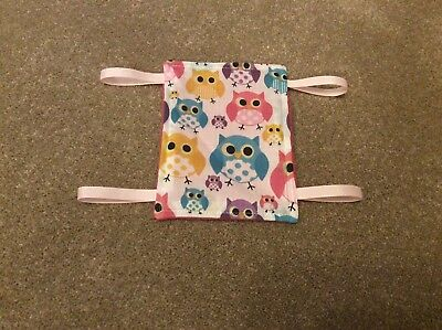 Mini HAMSTER hammock - Owl Cotton * Clips Included *