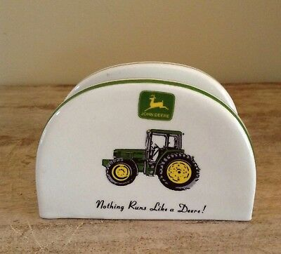 "John Deere ""Nothing Runs Like A Deere!"" Gibson Ceramic Napkin Holder"