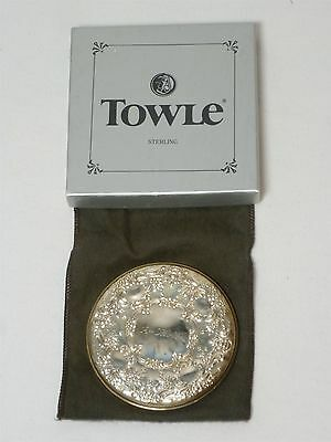 "Vintage NOS Towle Sterling Silver "".925"" Cosmetic Vanity Palm Held Travel Mirror"