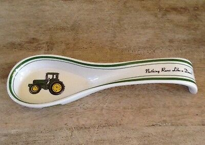 "John Deere Tractor ""Nothing Runs Like a Deere"" Gibson Ceramic Spoon Rest"