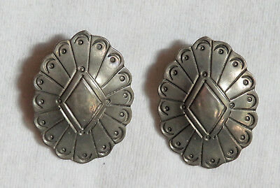 Silver Native American Navajo Concho Earrings ~ Signed ~ Estate Jewelry