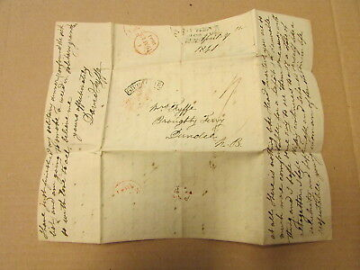 A 1841 Cover And Contents - Red + Black Postmarks - Gibbralter ?? To Dundee