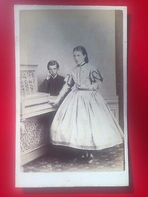 CDV two Scottish children, PIANO, by S & D SMITH, ROTHESAY, Scotland