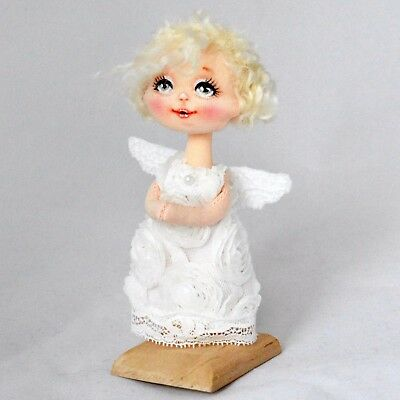 Textile miniature Christmas angel, artist doll, 5in.