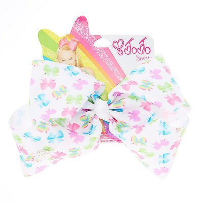 🎀 JOJO SIWA LARGE MULTI COLOURED BOW PRINT SIGNATURE HAIR BOW Brand New 🎀