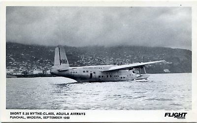 Aquila Airways - Short S25 Flying Boat - Madeira 1950 - Postcard View