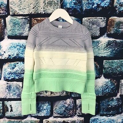 Girls Ivivva by Lululemon Knitted Crop Sweater Long Sleeve Sz 6 years thumbholes