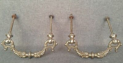 Pair of antique french draw pulls handles metal 19th century Henri II style