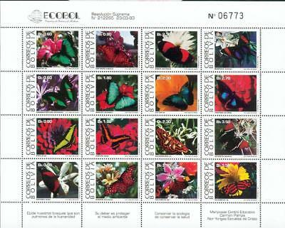 Bolivia Michel Nr. 1193-1208 ** MNH butterfly fe63-2